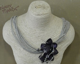 Necklace with silk cocoons-flowers necklace-romantic jewellery-Unique necklace