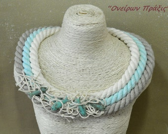 Unique necklace-handmade necklace-Rope necklace with fish