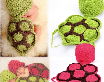 Crochet Newborn Turtle photo prop--Turtle hat and shell set--Baby turtle costume--Infant turtle hat--Turtle newborn prop--Twin photo prop