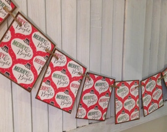 Christmas Banner Merry and Bright Vintage Style Cards Red and Green Garland Bunting Garland Distressed Shabby Retro