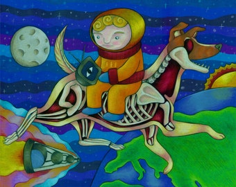 Pop Surrealism Painting Russian Inspired Laika Dog with Sputnik Fine Art Print 8x10