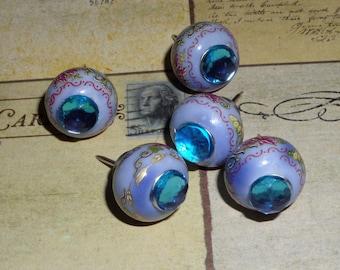 Glass big hole bead Push Pins - baby blue - love