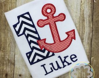Nautical Birthday, Anchor Birthday, Sailor Themed Personalized Boys or Girls Birthday Shirt