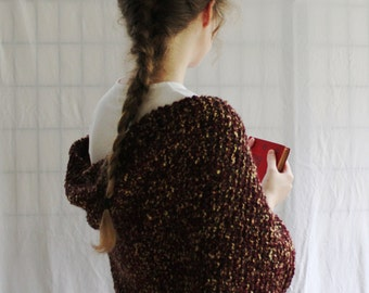 Hand Knit Autumn Shawl, Burgundy and Brown Wrap