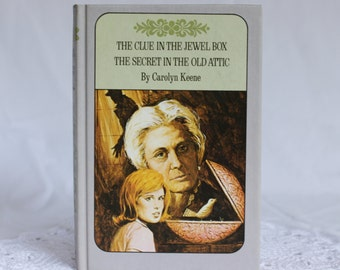 Nancy Drew Book, The Clue In the Jewel Box / The Secret In the Old Attic, Twin Thriller Nancy Drew Book,  Vintage 1972 Nancy Drew Book