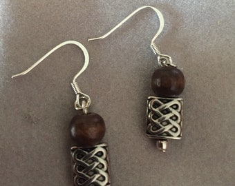 Silver and Wood Earrings Silver Charm Gifts under 5 Hippy jewelry Retro Jewelry Nature Lover Nature Jewelry Wooden Jewelry