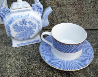 Block Spal Portugal Blue Skies Coffee Cup 1980 Saucer Blue Gold White