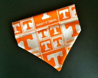 No-Tie, Slip Over Collar Dog Bandana, University of Tennessee Classic Square Team Fabric