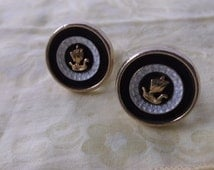 Vintage Anson Viking Ship Men's Cuff Links, Black & White with Gold Viking Ships, Great Quality by Anson