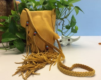 Leather Purse, Handmade Gold Deer Hide Bag wiith  Fringe,  Native Style  Deerskin  Cross Body Bag,  Soft Leather Purse, Made in Canada