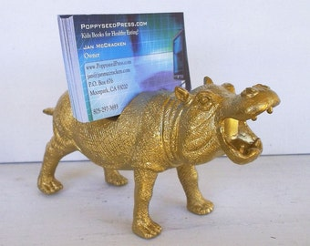Business Card Holder, Gold Hippo Business Card Holder, Gold Hippo, Office, Desk Accessory, Guy Gift, Hippo, Zoo Animal, Safari Theme,