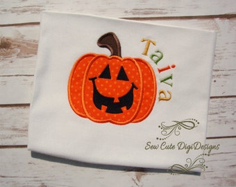 Halloween Pumpkin Face Applique Design