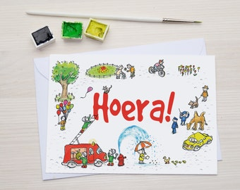 Hoera! - Verjaardagskaart - Uitnodiging Kinderfeestje- Wenskaart - Ansichtkaart - Felicitatiekaart