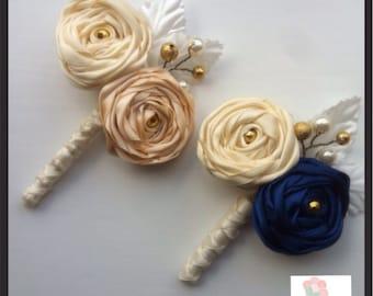 Buttonholes, Corsage. Groom buttonhole. Fabric buttonholes. Ribbonrose buttonholes. Boutonnière   Made to match your colour scheme
