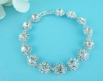 Rhinestone Flower Bridal bracelet, wedding bracelet, rhinestone crystal bracelet, crystal bracelet, bridal jewelry, bracelet 244545467