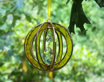 Stained Glass Suncatcher sphere-ball-orb with crystal prism Yellow, Stained Glass Suncatcher Yellow, Yellow prism