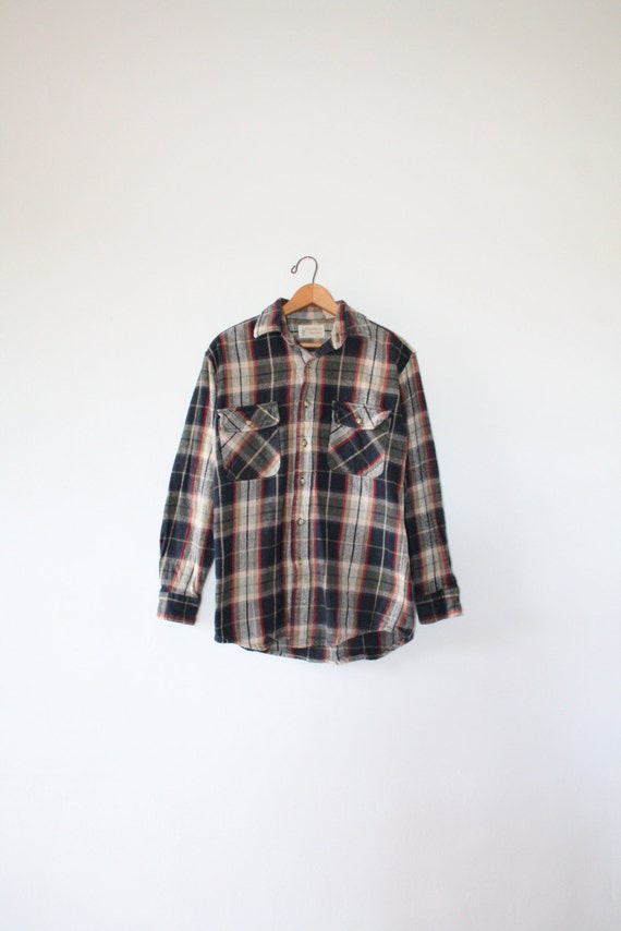 Heavy 80s plaid flannel size men 39 s small 1980s for Heavy plaid flannel shirt