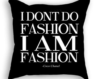 Fashion Pillow - Coco Chanel Quote - Interior Decorating - Text Pillow - Custom Pillow - Irreplaceable - Fashion Pillow - Cool Pillow