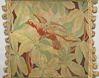 Antique Tapestry Cushion - Pillow - Verdure with Flying Bird - 1800s