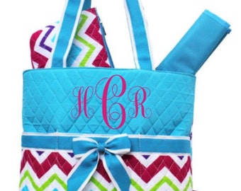 Blue multi Chevron Quilted Diaper Bag with FREE Monogramming
