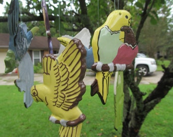 Ceramic  Wind Chime - Birds of  Paradise   -  Tropical  Decoration