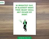 I Love You Card - Green Lantern Card - Happy Birthday - Happy Anniversary - Valentines Card