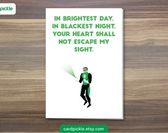 DOWNLOAD Printable Card - I Love You Card - Green Lantern Card - Happy Birthday - Happy Anniversary - Valentines Card