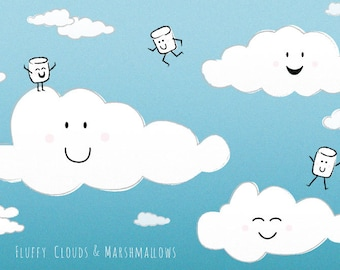 Fluffy Clouds and Marshmallows Postcard (1 Postcard)