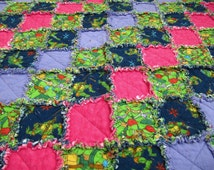 Ninja Turtles Quilt/Blanket for Girl - TMNT, toddler blanket, pink and purple