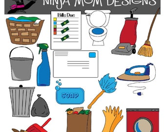 Chore Clip Art in Color and Black Line