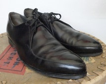 Hand Sewn Vintage 50s Mens Black Pointy Rockabilly Shoes // Alsboe // Size EU 40 // Made In Denmark