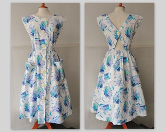 80s Vintage Summer Dress // Made In Debrecen Clothing Factory Hungary // 100% Cotton