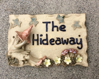 House name plaque, pixie house sign, address plate, custom made.