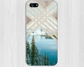 Geometric Winter Mountain Lake x Wood Design Case for iPhone 6 6 Plus iPhone 7  Samsung Galaxy s8 edge s6 and Note 5  S8 Plus Phone Case
