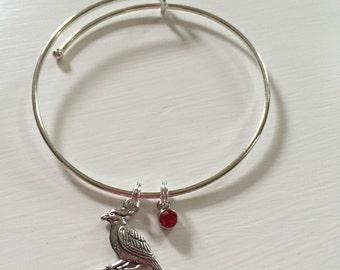 Cardinal memory bracelet, Cardinal bracelet, Silver Plated Adjustable Bangle, personalized gift, Cardinal Charm, Memorial, Handmade Bracelet