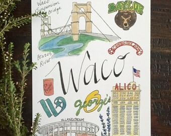 Waco Map Print 5x7