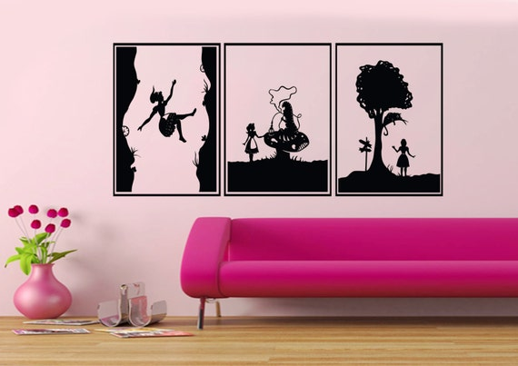 alice in wonderland vinyl wall decals 3 section by. Black Bedroom Furniture Sets. Home Design Ideas
