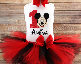Mickey Mouse Birthday Tutu Outfit ~ Includes Top, Tutu & Hair Bow ~ Customize in Any Colors!
