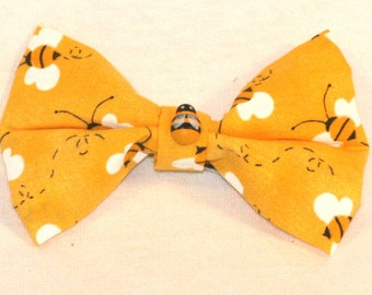 Happy Yellow Bumble Bee Bow - With 3D BEE **FREE SHIPPING** within United States