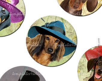 Digital Collage Sheet Dog in Hat 1 inch round Original  Printable Images 4x6 inch sheet 151_a