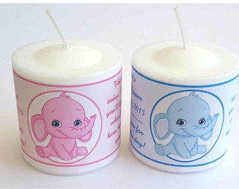 28 Pink Elephant or Blue Elephant Baby Shower Favors Votive Candle Labels ~ FREE SHIPPING