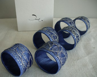 BLUE NAPKIN RINGS - Set of 6
