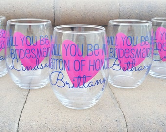 3 Will you be my Maid of Honor? Will you be my Bridesmaid? Bridesmaid proposal glasses. Maid of Honor gift idea, Asking Bridal Party