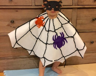 Baby Toddler Spider Web  Cape , Onesie ,Bodysuit and Mask Set -Great Halloween Costumes!