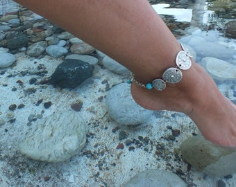 Bohemian Anklets Turquoise silver Anklet foot jewelry silver anklet