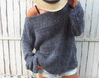 Women mohair sweater/ Handknit  sweater /  Soft wool sweater /Oversized soft sweater