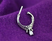 septum ring - septum clicker - tribal septum ring - unique septum ring 16g - septum jewelry - silver clear gem