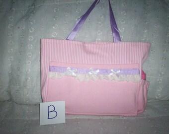 Doll diaper bag pink, purple