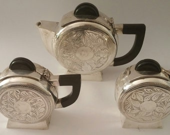 Exquisite Find!!!!  1920s Art Deco Tea Service Set inSilver Plate with Etching.  Bakelite Handles