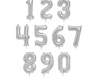 """16"""" Silver Foil Number Balloon 1st Birthday, Party """"Same Day Shipping"""""""